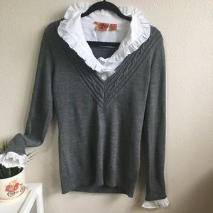 Tory Burch Sweater Shirt Gray Classic Small